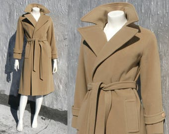Tan Cashmere Wool Wrap Coat / Vintage 1960s 1970s Brown Khaki Camel Hair Belted Jacket Fall Winter Love Story Trenchcoat Women's Size XS S M