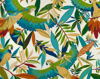 Tropical Shower Curtain, Parrot Shower Curtain, Rainforest, Blue Green Bathroom Decor, Island Theme Shower Curtain