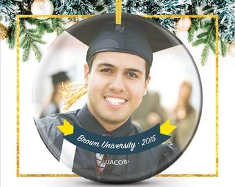 Personalized Graduation Photo Ornament, Graduate Christmas Gift, holiday ornament featuring your photo, text & school colors // C-P80-OR ZZ2
