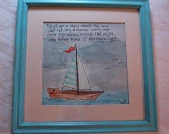 NAUTICAL Sea Art-  Bedtime Quote Art - Kid's art - Ocean- Sea -Sailboat Art - Good Night Quote Art - Original Watercolor art- Framed