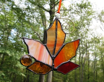 autumn glass Leaf, stained glass maple leaf, maple leaf, autumn decoration, fall decoration, home and living, nature decor , glass leaves B