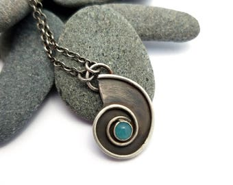 Sterling Silver Nautilus Necklace with Amazonite Stone, Gemstone Necklace, Beach Jewelry, Ocean Necklace, Oxidized Silver Ocean Jewelry