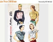 "on SALE 25% Off 1940s Blouse Pattern SIMPLICITY Plus size Bust 40"" Blouse with Bow Vintage Blouse 1940s Sewing Pattern 1940s Womens Clothes"