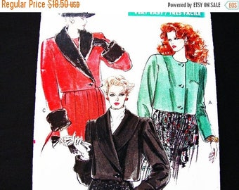 on SALE 25% Off 1980s Vogue Jacket Pattern size 12 14 16 Womens Short Jacket Shawl Collar Faux Fur Collar Cuffs Jacket Sewing Pattern UNCUT
