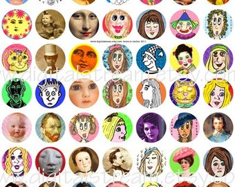 Lots of Faces One Inch Circles Digital Collage Sheet 63 Different Bottle Cap Images Scrapbooking