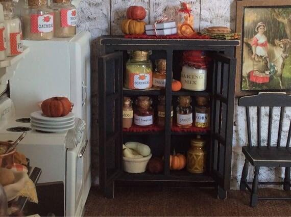 Miniature Black Canning Jar Cupboard - 1:12 Dollhouse Scale
