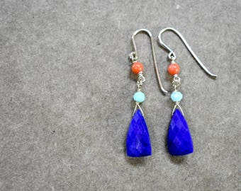 lapis lazuli earrings. lapis amazonite and coral earrings. gold filled. cobalt, orange and blue earrings. tri-color earrings. lapis jewelry