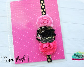 Planner band { Diva Mask  } mardi gras, new orleans shabby flower, paris, black, pink and gold summer, bookmark bible band, baby headband