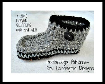 CROCHET SLIPPERS PATTERN, Rogan slippers, Unisex style, #2040, 2 yrs to adult xl,