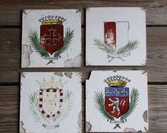 Vintage PORCELAIN TILES- Desvres Made in France- Shield- Crown- Royalty- Hand Painted- Lyonnais- Set of 4- Damaged French Country- M30