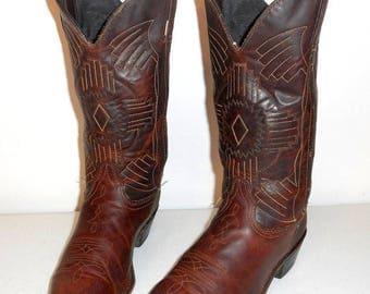 Womens 7.5 M Cowboy Boots Durango Brown Western Fashion Boho Country Cowgirl