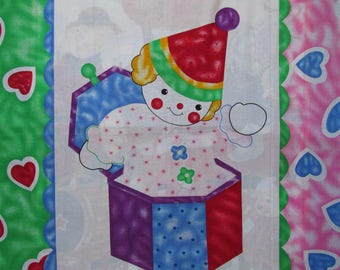"""Baby Crib Quilt Blanket Wall Hanging Fabric Panel 36"""" x 45"""" Jack-in-the-Box Toys Pink Red Green"""