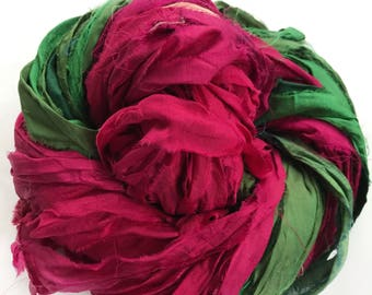 Sari Silk Ribbon, Reclaimed, Recycled, Fair Trade, Skein no. 322, 38 yds.