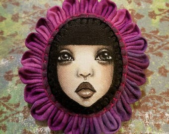 Original Portrait Painting Hand Stitched Flower Brooch Pin by Lisa Lectura