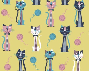 Retro Dapper Cats Fabric - Mustard Retro Cats By Edward Elementary - Retro Cat Nursery Decor Cotton Fabric By The Yard With Spoonflower