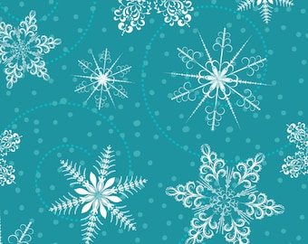 Snow Flurries Fabric - Blue Retro Snowflakes Pattern By Diane555 - Winter Holiday Snow Cotton Fabric By The Yard With Spoonflower