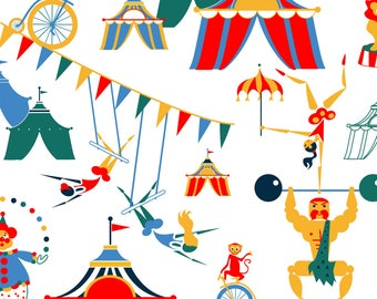 Retro Circus Fabric - Retro Circus Scene By Happyhappymeowmeow - Retro Circus Nursery Decor Cotton Fabric By The Yard With Spoonflower