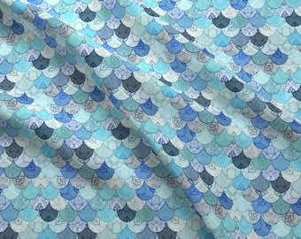 Mermaid Scale Fabric - Boho Doodle Ocean Blues Mermaid Scales By Micklyn - Boho Mermaid Cotton Fabric By The Yard With Spoonflower