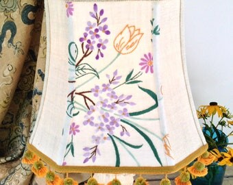 "Lavender Flowers Lampshade, Square Lamp Shade, Funky Vintage Tassels, 8""t x 12""b x 10.5"" h, Eclectic Table Lamp Shade - Light up Your Life!"