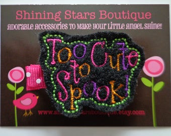 Girls Hair Accessories - Black, Lime Green, Orange, Hot Pink, And Purple Embroidered Felt Too Cute To Spook! Hair Clippie