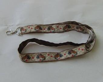 Handmade Grosgrain & Satin Ribbon Dog BOXER Lanyard/Keychain/Badge Holder w/Metal Charm...choose color
