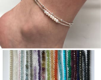 Pearl or Gemstone Anklet, Double Chain Sterling Silver Anklet, Satellite Chain Anklet
