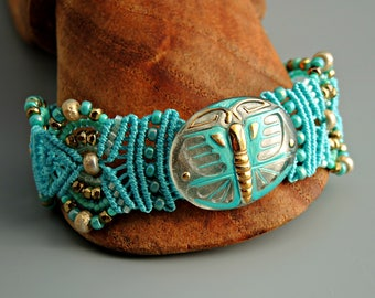 Aqua Art Deco Butterfly Macrame Bracelet with Czech Glass Button - Micro Macrame Bracelet - Intricate Knotted Bracelet
