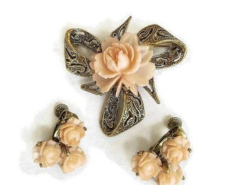 SALE Celluloid Flower Brooch and Earrings Set Peach Coral Vintage
