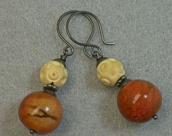 Vintage Apple Coral Bead Dangle Drop Earrings, Vintage Chinese Carved Bone Beads , Handmade Oxidized Sterling Silver Ear Wires -GIFT WRAPPED