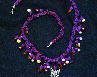 purple spirl cord necklace