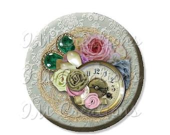 "25% OFF - Pocket Mirror, Magnet or Pinback Button - Wedding Favors, Party themes - 2.25""- Fleur de Lis Time Clock MR428"
