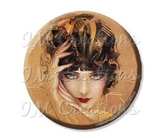 """25% OFF - Pocket Mirror, Magnet or Pinback Button - Wedding Favors, Party themes - 2.25""""- Vintage 1920s Flapper Glance MR364"""