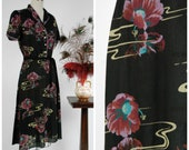 Vintage 1970s Dress - Gorgeous 40s Inspired Dark Floral Dress with Water Lily Motif in a Matte Rayon Blend