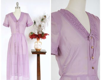 Vintage 1950s Dress - Adorable Ultra Sheer Violet Purple Cotton Voile 50s Dress with Shirred Detailing