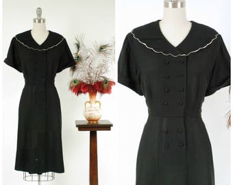 Vintage 1950s Dress - Early 50s Classic Black Rayon Day Dress with White Scalloped Trim and Double Breasted Closure XL XXL