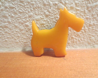 Vtg Butterscotch Bakelite Scotty Dog / Scottie Dog Brooch / C Clasp /