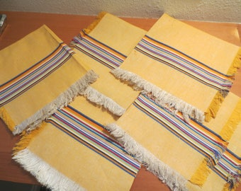 Set of 5 vintage woven mexican cotton napkins with stripes / Yellow with bright stripes / fringe edge / 16 x 16""