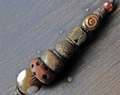 """Rustic totem pendant drop necklace. Wearable art by fancifuldevices - """"Saxicoline"""""""