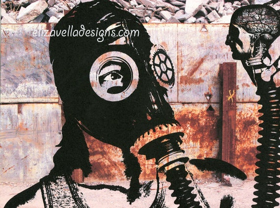 boy wearing gas mask Zombie apocalypse original art print original steampunk science fiction art dark fantasy art