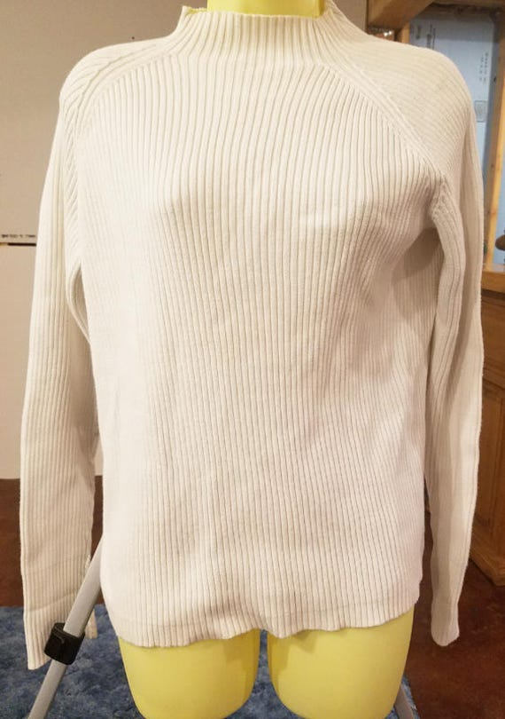 WOMENS white ribbed turtleneck sweater top size Large winter shirts vintage 90s clothing