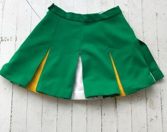 Cheer Skirt / Tennis Skirt / Green and Yellow / Cheerleader Skirt / Pleated Skirt XS