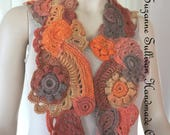 Woman's Freeform Crocheted Scarf, OOAK, Wearable Art Piece, Multi Colored Hand Crocheted Scarf, Scarf, Free Form Crochet, Oranges and Browns