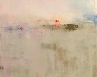 Minimalist Abstract Landscape Painting, Large 36x36 Acrylic Painting, Modern Art, Original Painting, Minimalism, Neutral Decor