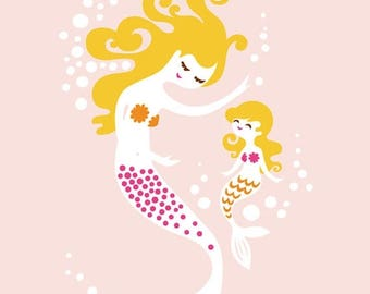 "SUMMER SALE 5X7"" mermaid mother & daughter giclee print on art paper. pink, magenta, orange, blonde"