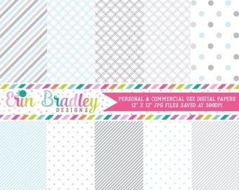 80% OFF SALE Digital Paper Pack Scrapbook Papers Personal and Commercial Use Baby Blue and Gray Medley