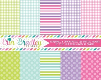 80% OFF SALE Digital Paper Pack Personal and Commercial Use Polka Dots and Gingham Patterns
