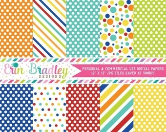 80% OFF SALE Easter Boys Digital Papers Blue Red Orange Yellow Green Stripes & Polka Dots Digital Paper Pack Instant Download