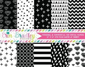 80% OFF SALE Digital Papers, Black & White Digital Paper Pack, Diamonds Triangle Striped Doodle and Cross Patterns, Digital Scrapbooking Pap