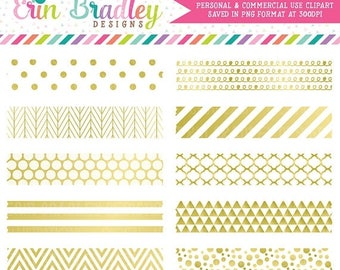 80% OFF SALE White and Gold Digital Washi Tape Clipart Graphics Gold Foil Clip Art Instant Download