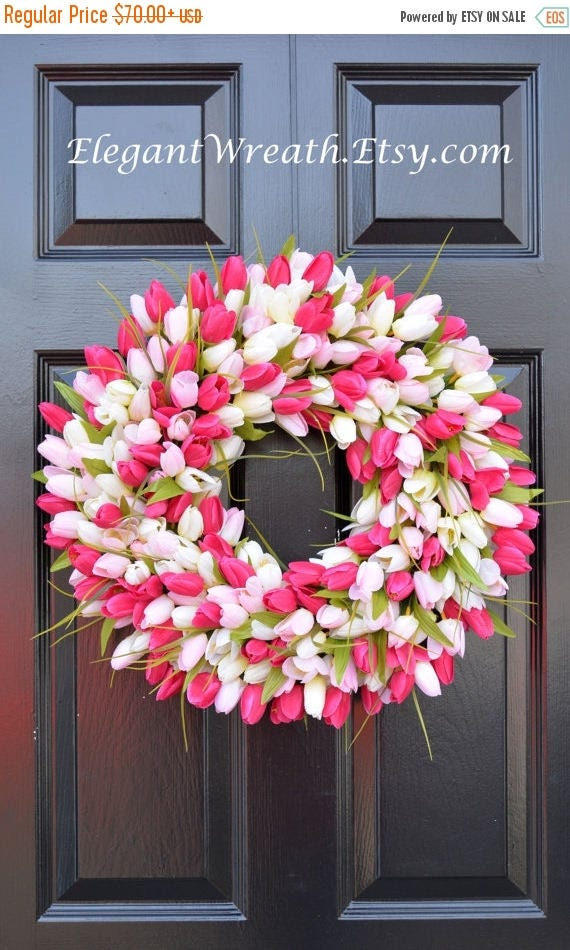 SUMMER WREATH SALE Pink Tulip Wreath- Spring Wreath- Mother's Day Wreath- Gift for Mom- Mother's Day Gift- Shabby Chic Decor